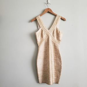 BEBE [Addiction] | gold foil bandage bodycon dress
